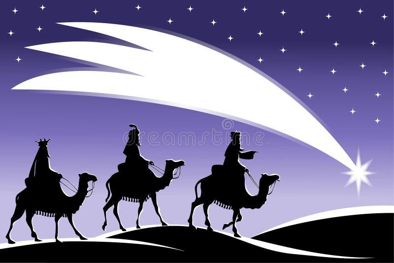 Tres hombres sabios que siguen la estrella stock de ilustración