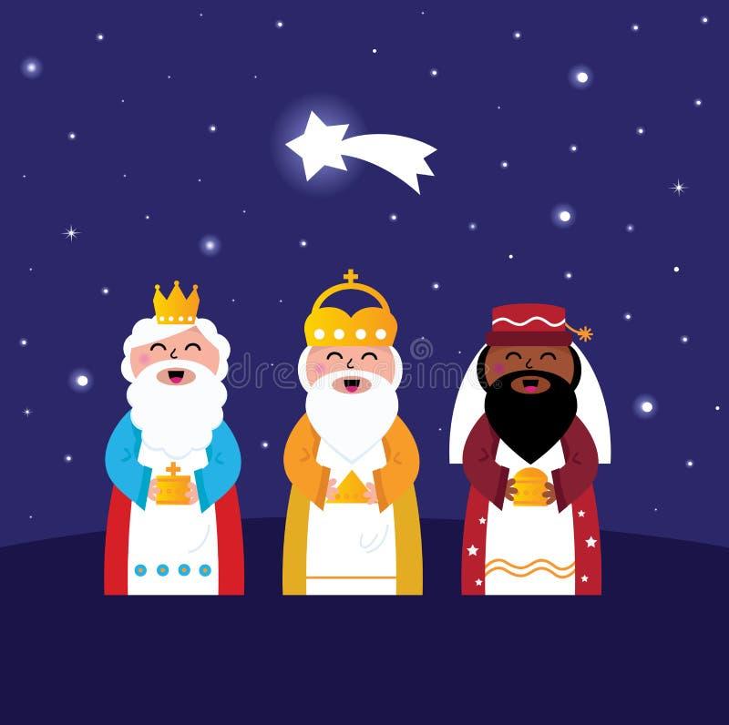 Tres hombres sabios que traen los regalos a Cristo stock de ilustración