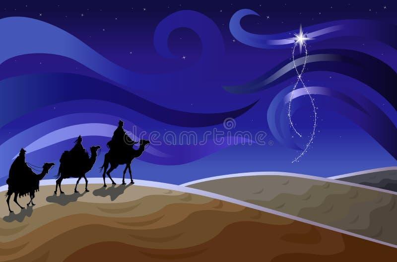 Tres hombres sabios y la estrella stock de ilustración