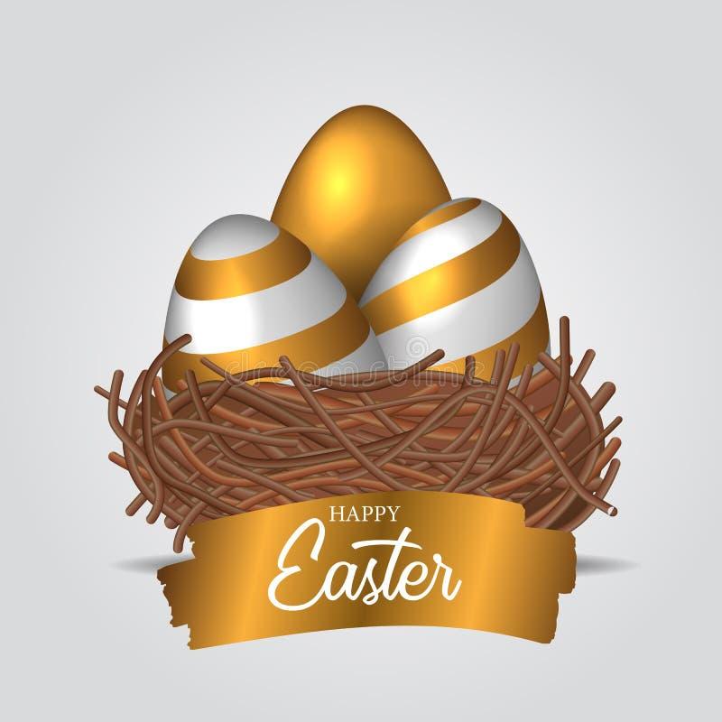Tres huevo decorativo realista del grupo 3D con color oro en la jerarquía del pájaro con la bandera de oro del texto del chapoteo ilustración del vector