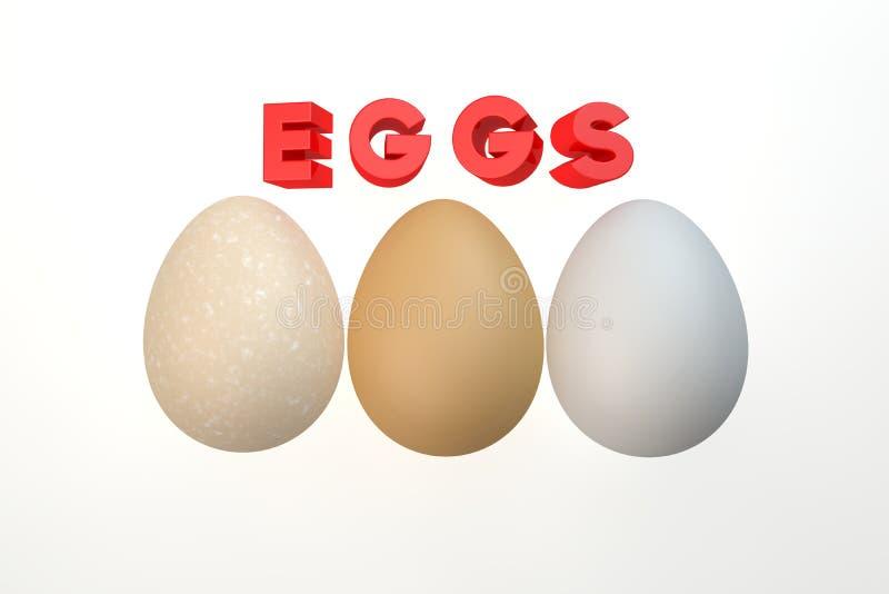 Tres huevos aislados en el blanco fotos de archivo