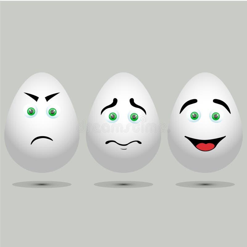Tres huevos blancos realistas del vector foto de archivo libre de regalías