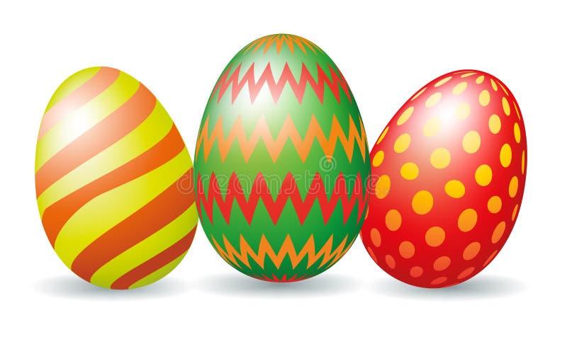 Tres huevos de Pascua coloridos ilustración del vector
