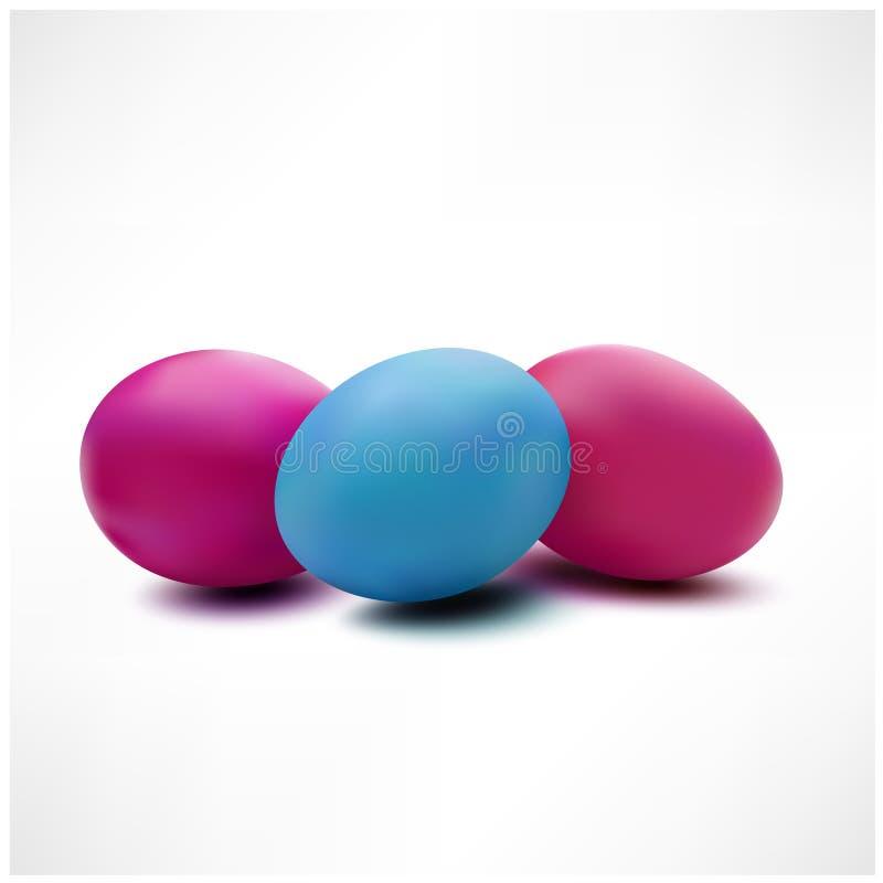 Tres huevos de Pascua coloridos aislados en el fondo blanco stock de ilustración