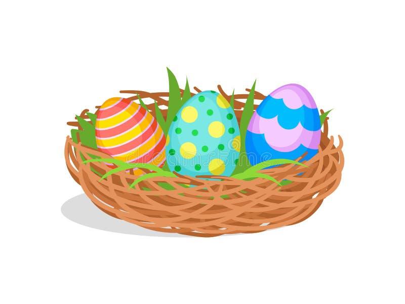 Tres huevos de Pascua pintados en jerarquía marrón con la hierba verde Composición linda del día de fiesta Diseño plano del vecto libre illustration
