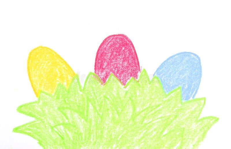 Tres huevos pintados ilustración del vector