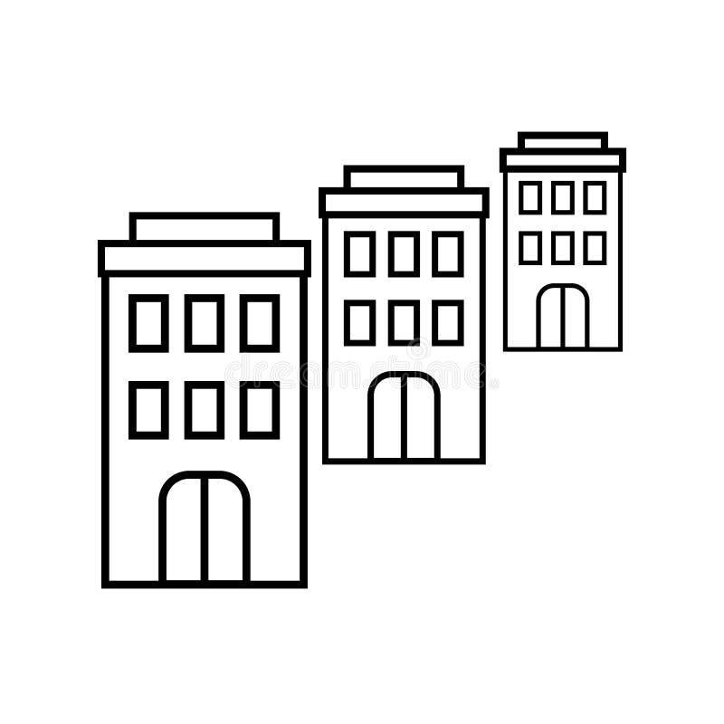 Tres iconos de los edificios de la administración stock de ilustración