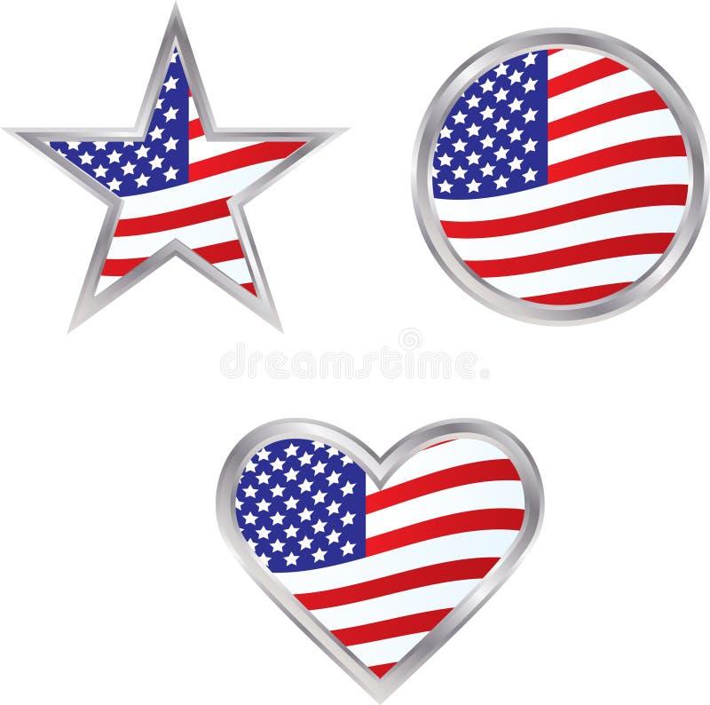 Tres iconos del indicador americano ilustración del vector