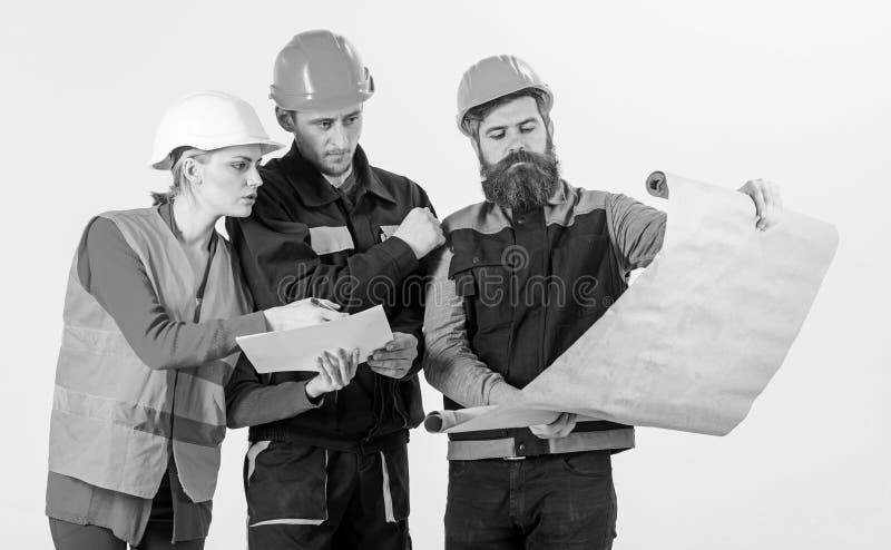 Tres ingenieros de construcción que trabajan junto, planeando para la renovación, trabajo fotos de archivo