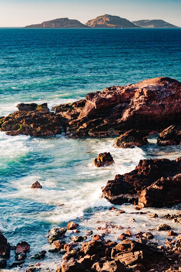 Three islands off the coast of Mazatlan, Mexico with deep blue Pacific waters. Famous three islands off the coast of Mazatlan, Mexico with deep blue Pacific royalty free stock photography