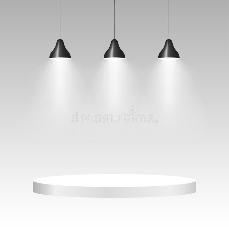 Tres lámparas del techo con la luz Fondo colgante de la lámpara Vector ilustración del vector