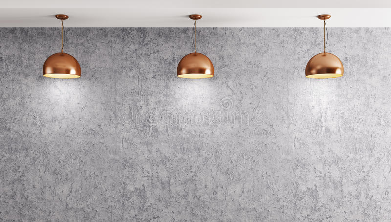 Tres lámparas sobre la representación del muro de cemento 3d stock de ilustración