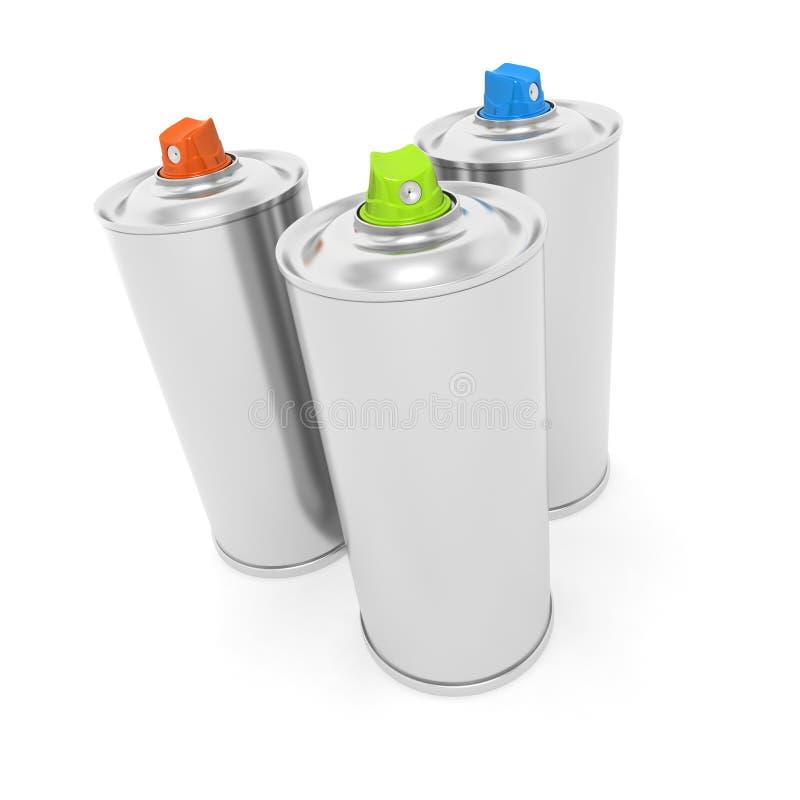 Tres latas de aerosol ilustración del vector