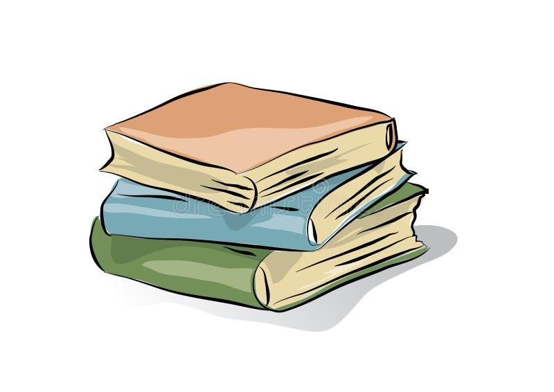 Tres libros clásicos, ejemplo aislado clip art del vector stock de ilustración