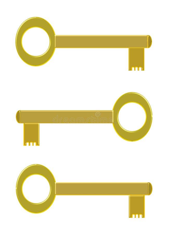 Tres llaves de oro fotografía de archivo libre de regalías