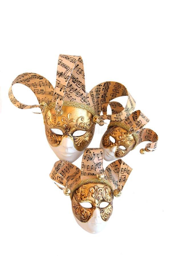 Tres máscaras decorativas venecianas del carnaval imagenes de archivo