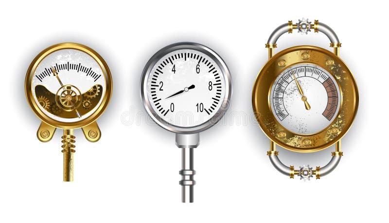 Tres manómetros en el fondo blanco libre illustration