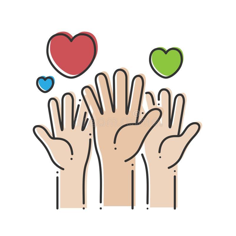 Tres manos con los corazones Palmas de la caridad con los corazones coloreados en un fondo blanco Ilustración del vector libre illustration