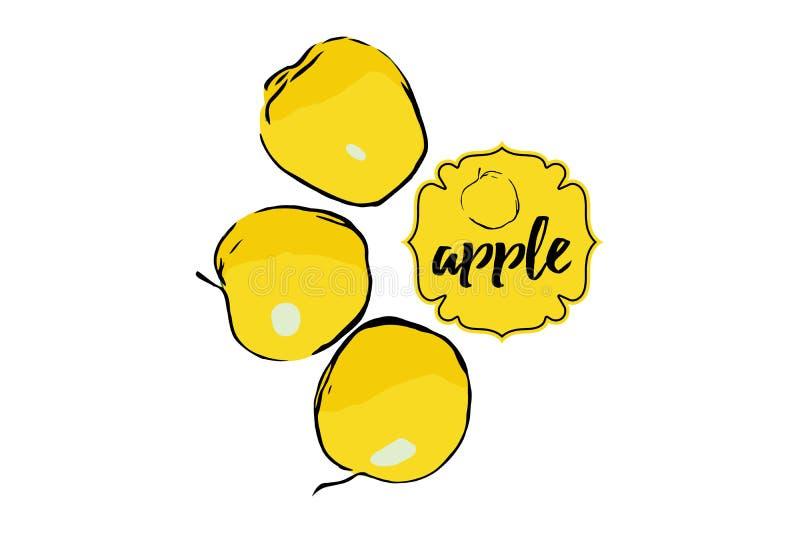 Tres manzanas amarillas exhaustas de la historieta aisladas en blanco con la etiqueta engomada stock de ilustración