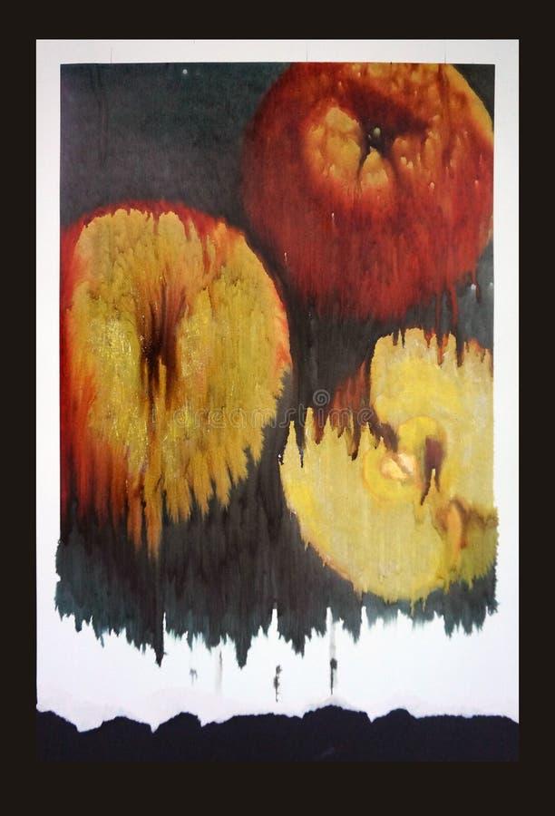 Tres manzanas, arte de las técnicas mixtas foto de archivo