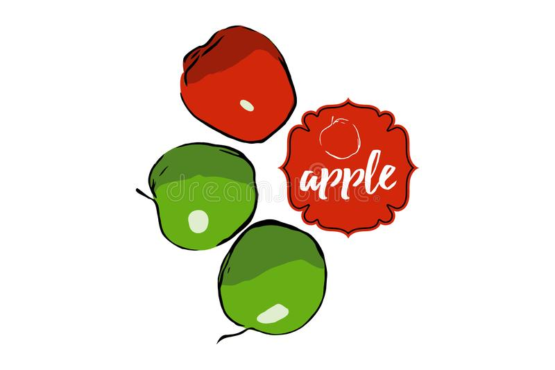 Tres manzanas exhaustas de la historieta aisladas en blanco con la etiqueta engomada ilustración del vector