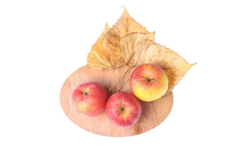 Tres manzanas maduras, hojas caidas fotos de archivo libres de regalías