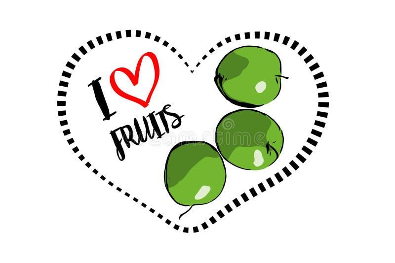 Tres manzanas verdes exhaustas de la historieta dentro del corazón aislado en el fondo blanco ilustración del vector