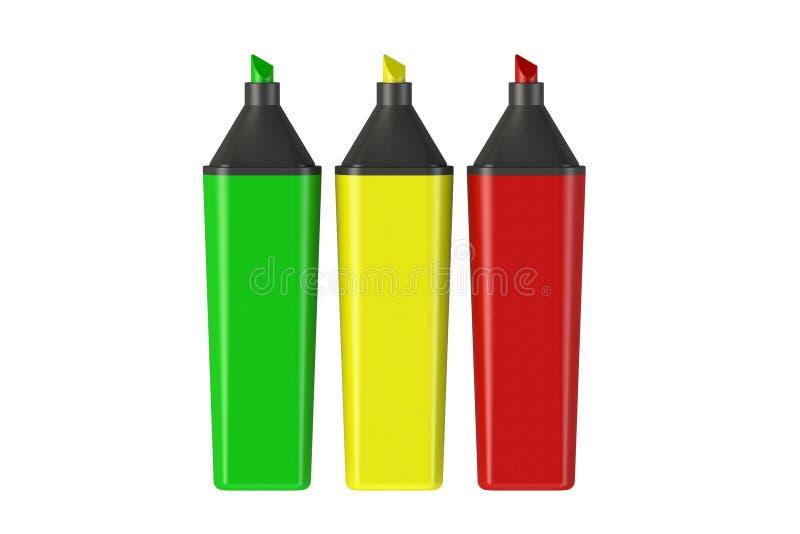 Tres marcadores coloreados en un fondo blanco luz de rotuladores Aislante en el fondo blanco, libre illustration