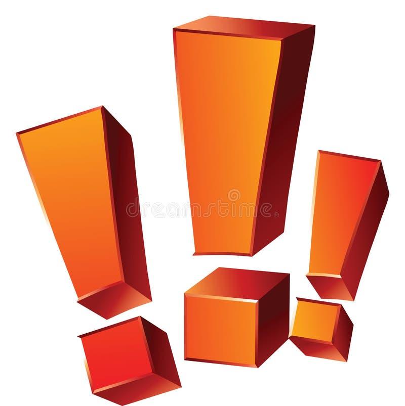 Tres marcas de exclamación anaranjadas emocionales aisladas en el backg blanco libre illustration