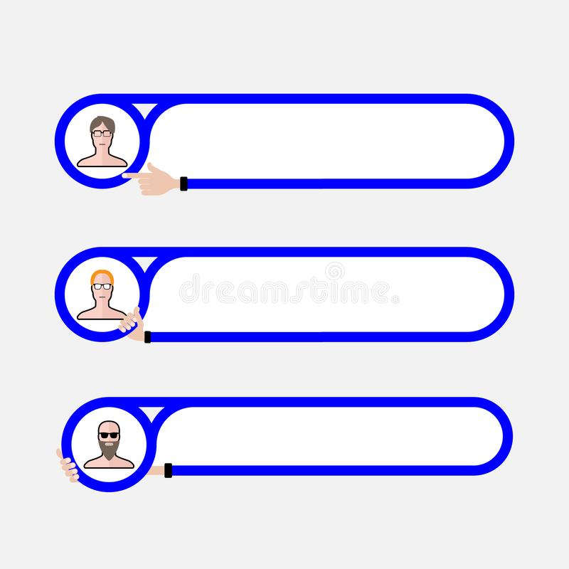 Tres marcos de texto para el terraplén su texto y gente ilustración del vector
