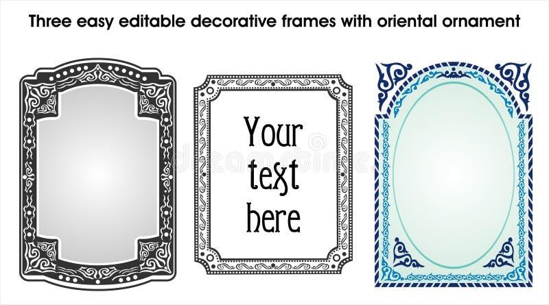 Tres marcos decorativos editable fáciles con orienta ilustración del vector