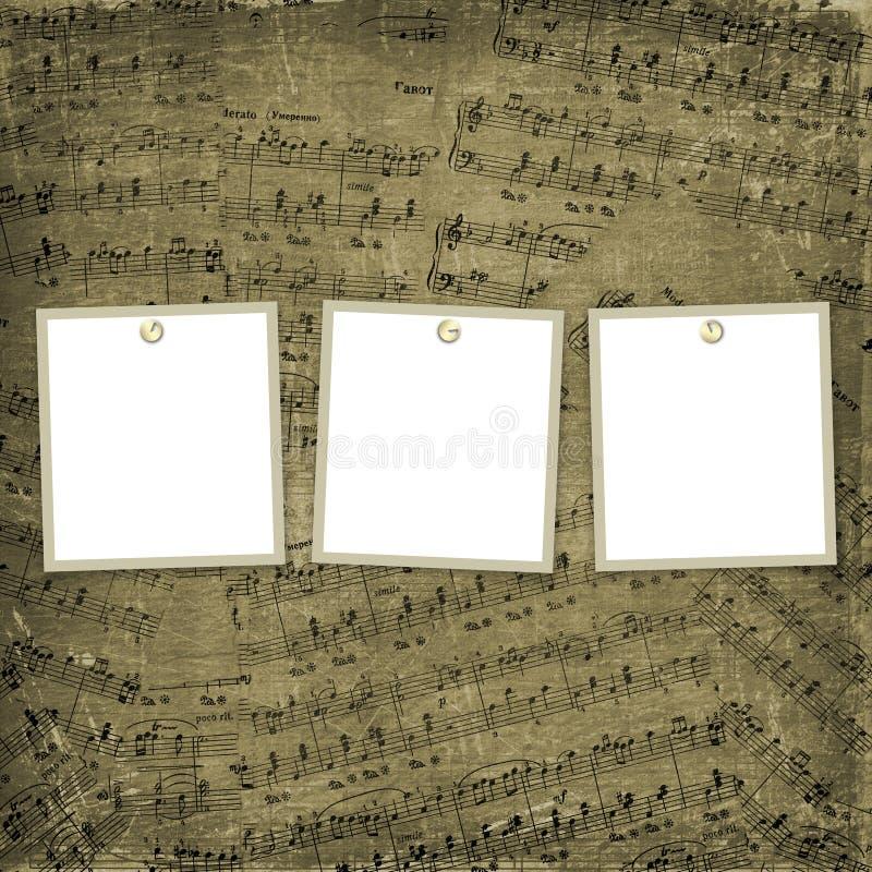 Tres marcos para las fotos en el fondo musical stock de ilustración