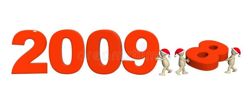 Tres marionetas que hacen el número 2009 ilustración del vector