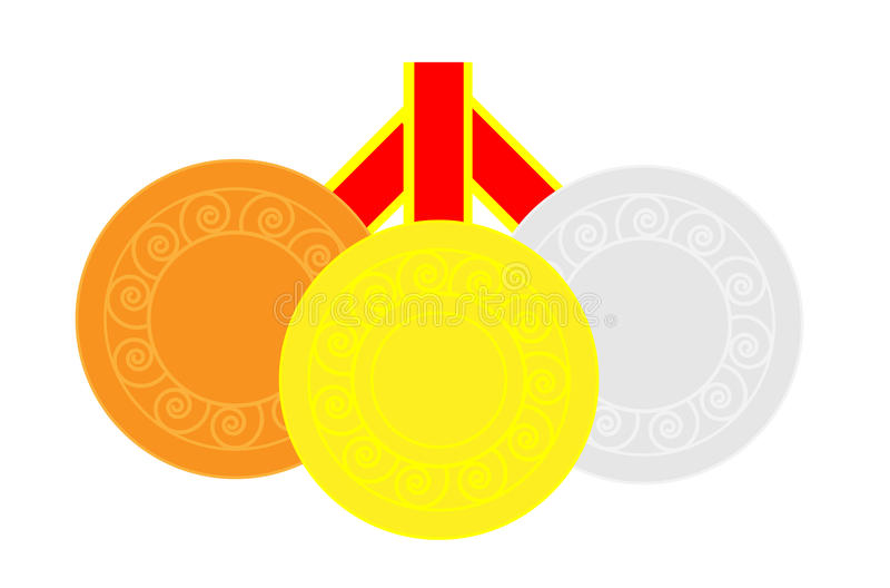Tres medallas stock de ilustración