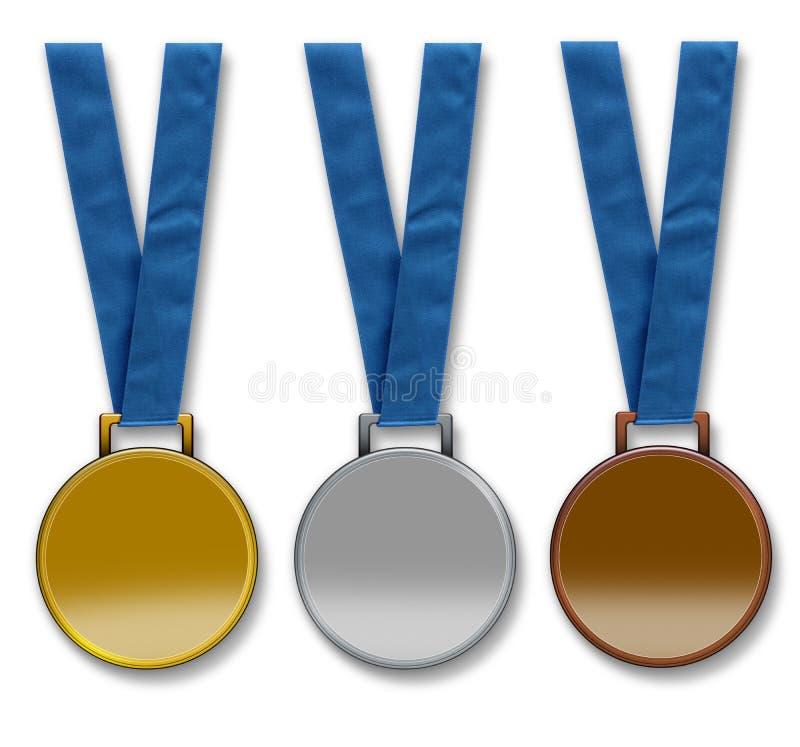 Tres medallas en blanco de los ganadores stock de ilustración