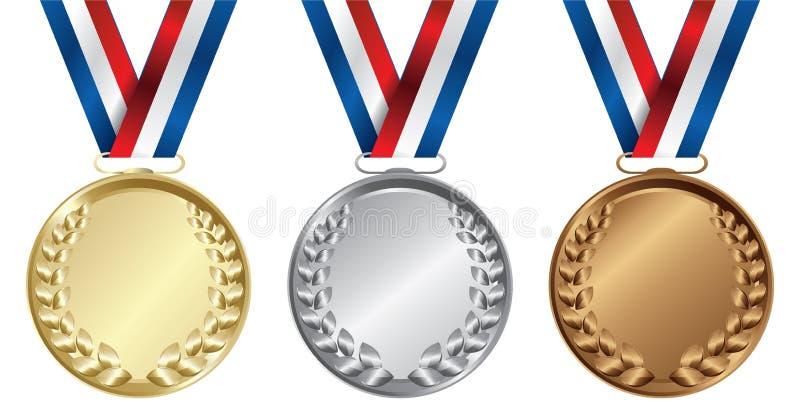 Tres medallas, oros, platas y bronces ilustración del vector