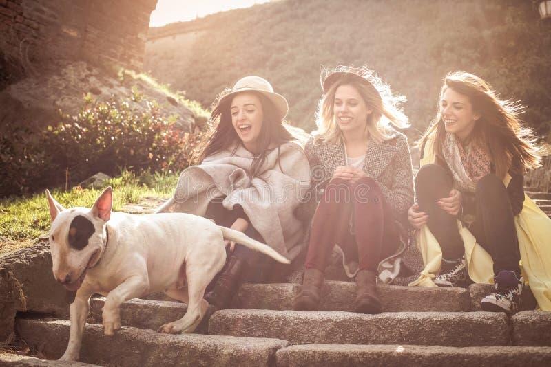 Tres mejores amigos que se sientan en las escaleras imagen de archivo