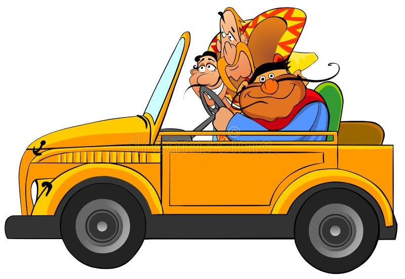 Tres mexicanos divertidos en el coche. libre illustration
