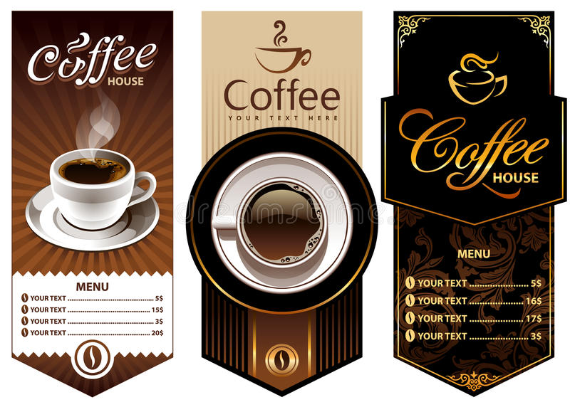 Tres modelos del diseño del café stock de ilustración
