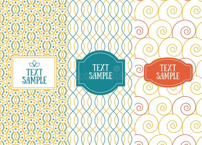 Tres modelos inconsútiles elegantes retros para el diseño de la invitación stock de ilustración