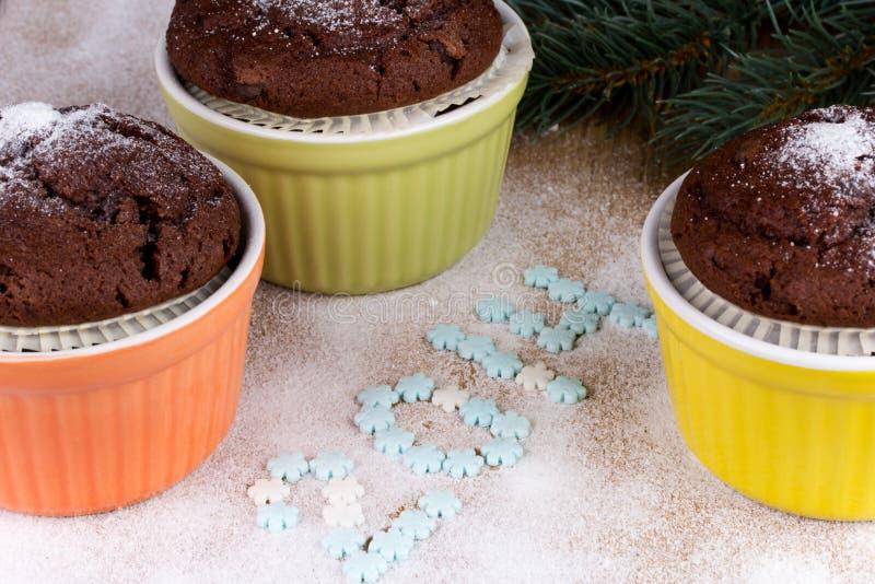 Tres molletes del chocolate con la rama del abeto imagen de archivo libre de regalías