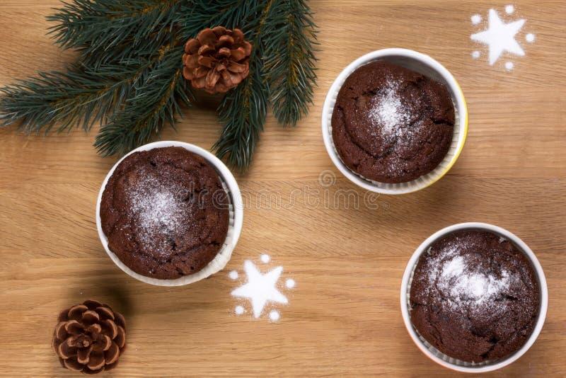 Tres molletes del chocolate con los conos de abeto y la ramita foto de archivo libre de regalías