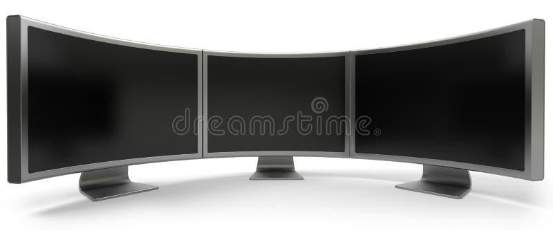 Tres monitores curvados del ordenador stock de ilustración