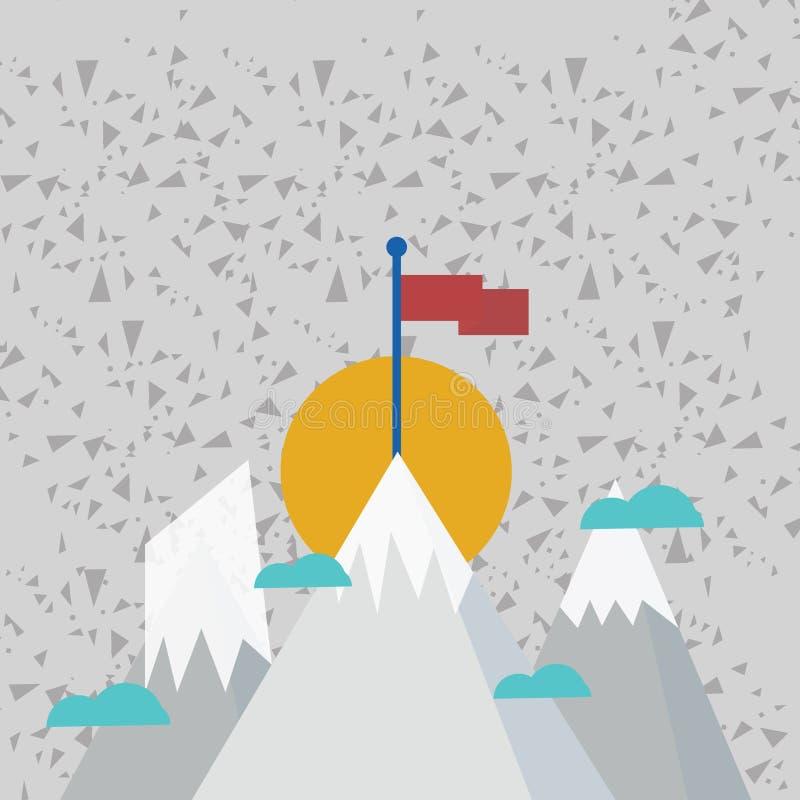Tres montañas con nieve van para arriba más allá de las pequeñas nubes Uno tiene bandera colorida en blanco que se coloca en el p stock de ilustración