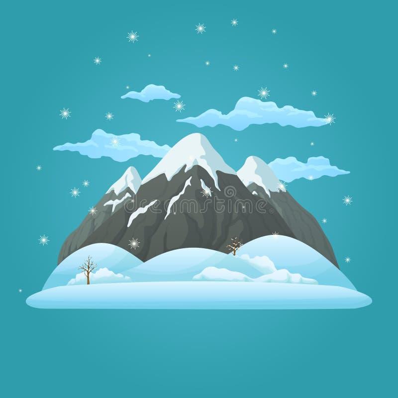 Tres montañas nevosas con las colinas nevadas, los árboles desnudos, las nubes y la nieve que cae en un fondo azul stock de ilustración