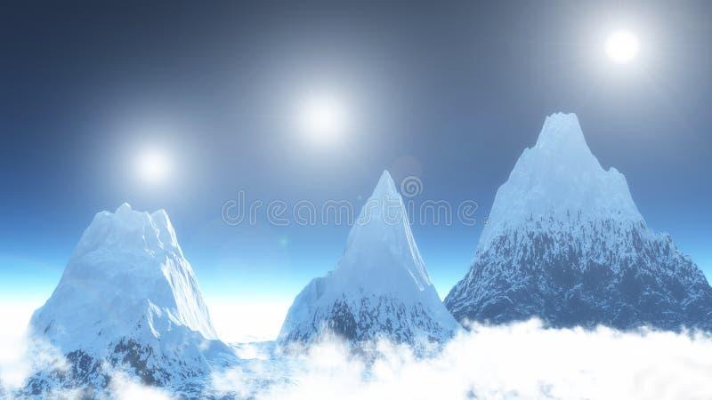 Tres montañas y soles tres stock de ilustración