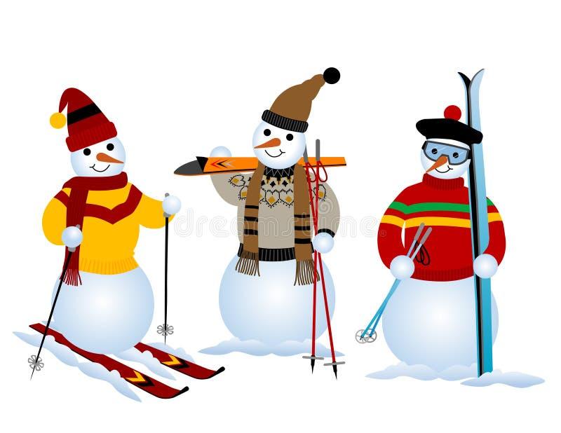 Tres muñecos de nieve stock de ilustración