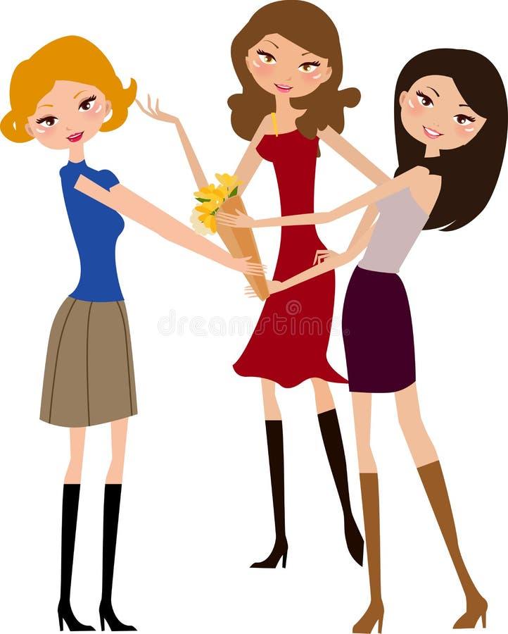 Tres muchachas stock de ilustración