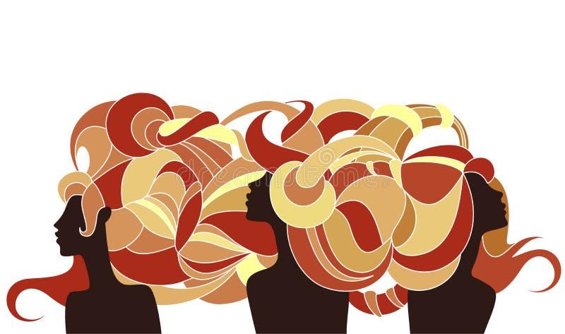 Tres muchachas antiguas de la silueta stock de ilustración