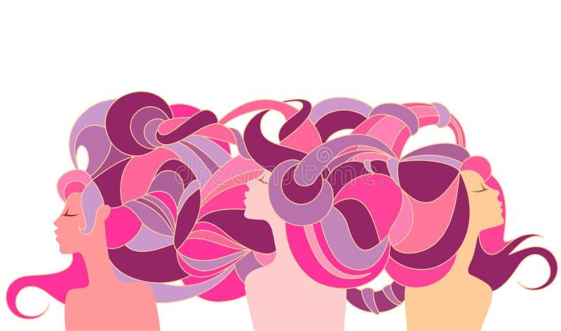Tres muchachas antiguas de la silueta ilustración del vector